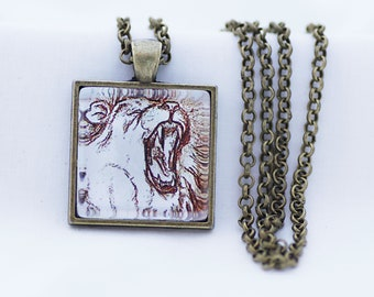 Roaring Lion Print Necklace, Vintage Bronze, Fine Art Print, Photo Jewelry, Big Cat Necklace