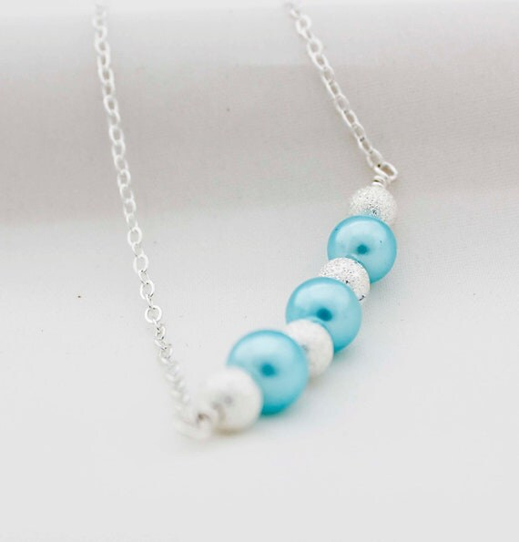 Baby Blue Pearl Glass Bead Necklace On Sterling Silver Wire, Attached To A Sterling Silver Chain