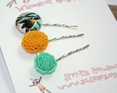 Bobby Pins Floral Assortment Asian Style TURQUOISE AND GOLD
