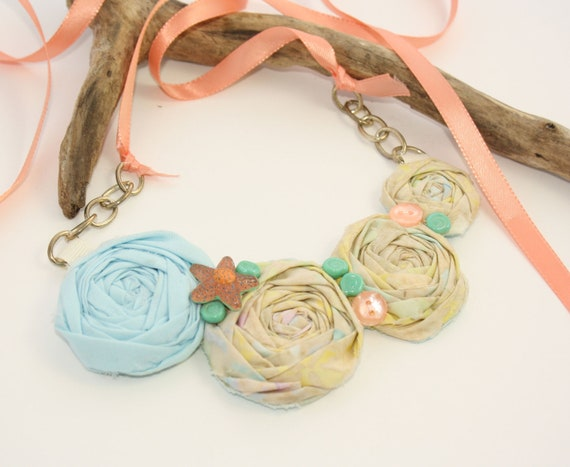 Fabric Rosette  Bib Necklace  STARFISH  SHERBET Statement or Wedding Piece Small Ice Cream Batik