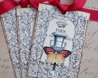 French Garden Tags - Tuilerie Gardens - French Butterfly Tags - Jardin des Tuileries No. 23  Tags - Set of 3