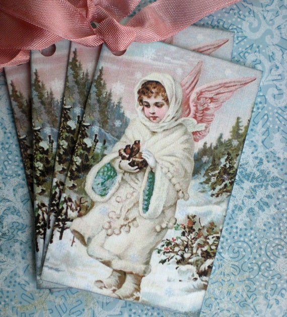 Bird Tags - Christmas Tags - Vintage Angel and Bird Tags - Snow Angel with Birds Gift Tags - Set of 4