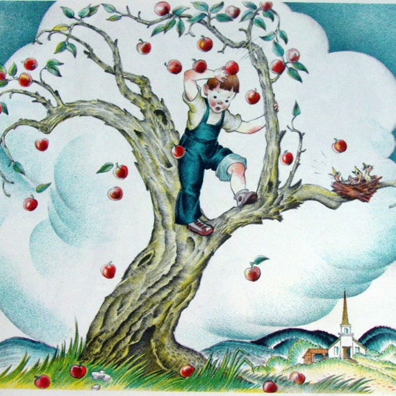 I Climbed up the Apple Tree,  1950s Period Ephemera - Cherished Book Illustration