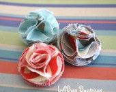 LiliBug Frayed Shabby Chic Lotus Layered Fabric Flower Clip - AMY BUTLER Orange Blue Grey Anthro inspired