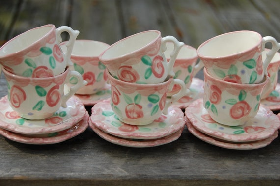 Personalized Tea party favors // Shabby Chic Tea Party  // Vintage Looking Pink and Aqua Personalized Tea Cup Sets