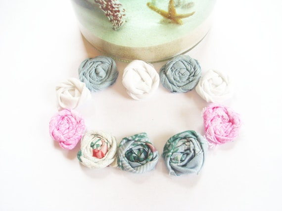 ONE DOLLAR Deals - 10 Small Rolled Fabric Flowers - To Sew or Glue as Embellishments,Jewelry,Scrapbooking,Accessories - PIF