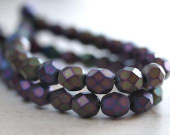 Matte Iris Purple Czech Glass Bead 6mm Firepolish  Faceted Round Bead - 25 pc Strand