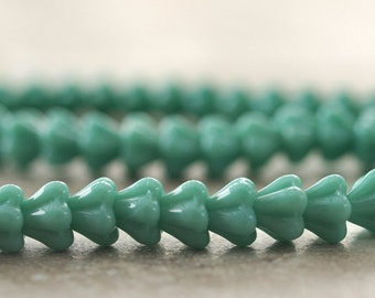 Turquoise Czech Glass Bead 4x6mm Baby Bell Flower : 25 pc