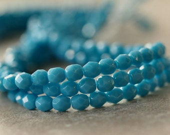 Turquoise Blue Czech Glass Bead 4mm Round : Full Strand 50 pc 4mm Blue Round Bead