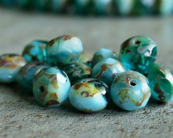 Ocean Wave Picasso Czech Glass Bead 6x8mm Rondelle : 12 pc