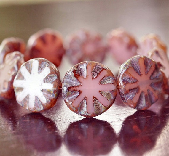 Rose Pink Opal Czech Glass Chunky Bead 18mm Picasso Coin :  4 pc
