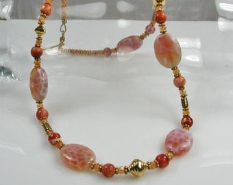 Fire Agate and Gold Necklace