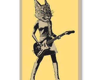 60s style LYNX cat Guitar Player girl rock band 11 x 17 silkscreen Art Print Poster screenprinted by hand. Great for musicians or rock fans.