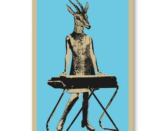 60s style Gazelle Keyboard Player girl Rock Band 11x17 silkscreen Art Print Poster screenprinted by hand. Great for musicians.