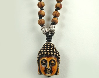 Buddha  Necklace long  sterling silver -sandalwood beads carved Buddha vegan leather