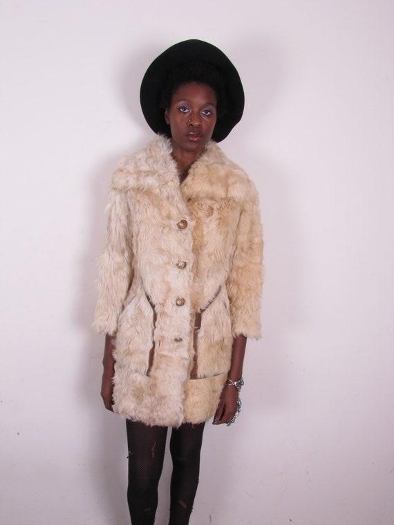 vintage 70s extra curly thick shaggy sheep mongolian tibetan lamb coat jacket sm med