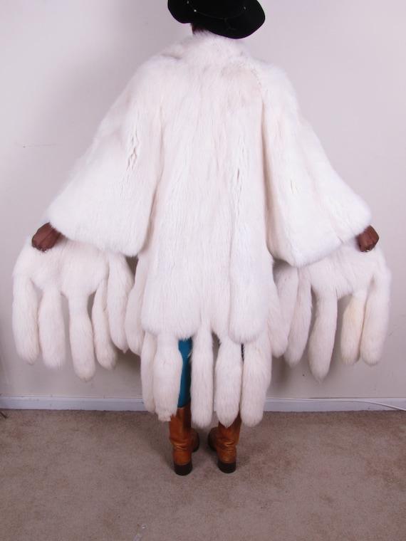 vintage 19 tail white fox full length cape poncho jacket vest capelet jacket gilet