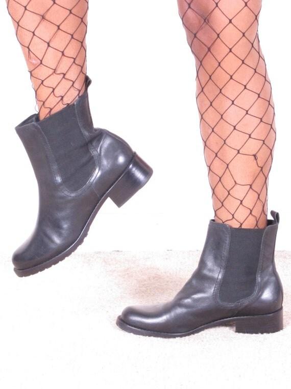 vintage 90s black leather chelsea combat army military elastic sides boots unisex womens sz 7 1/2 M