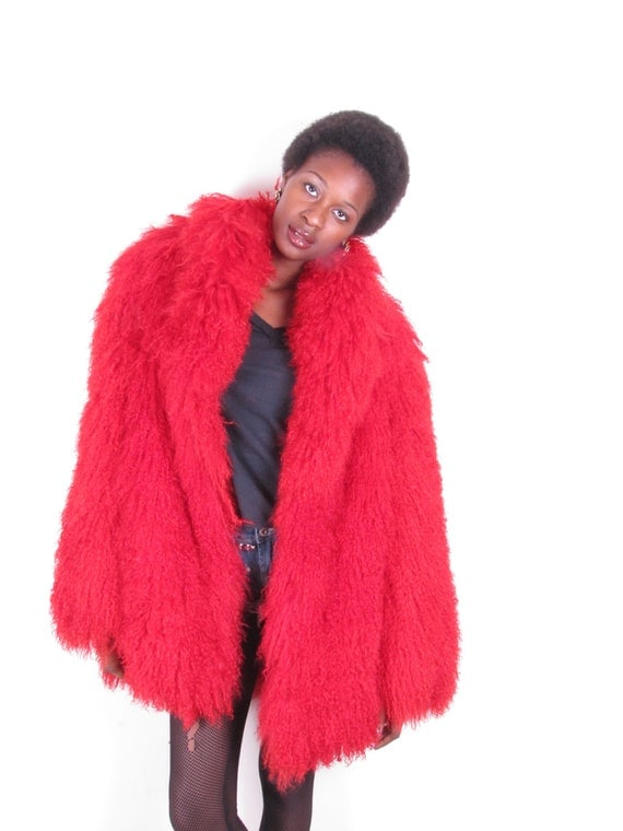Amazing 80s Vintage Oversized Fire Red Mongolian Tibetan Shaggy Fluffy Curly Hair Fur Lamb Jacket Coat