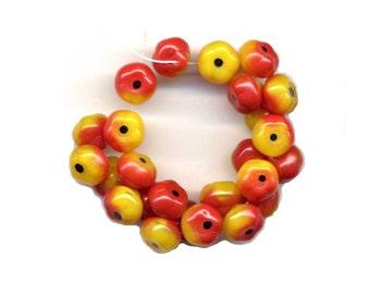 Apple Fruit Glass Beads Autumn Red Yellow Czech vintage 4