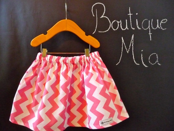 SAMPLE - Children Skirt - Pink Chevron - Will fit Size 3T up to 5 Yr - by Boutique Mia and More - Ready To Ship