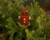 Christmas Gingerbread man ... artisan glass lampwork fairy garden decor ... Can't catch me .... by simply cindy