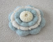 Handmade Crocheted, Felted and Embellished Wool Brooch Pin in Blue and Cream
