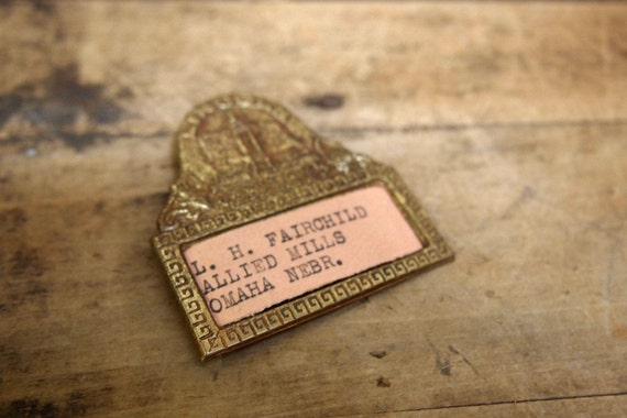 Lovely vintage metal name badge great for jewelry altered art or collection Free Shipping
