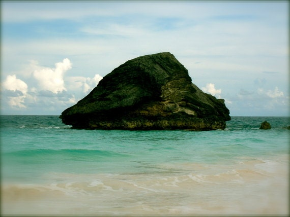 The Rock: a fine art photograph print of large rock, ocean water, and blue sky at Horeshoe Bay Beach in Bermuda