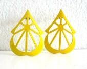 Vintage Yellow Enamel Earrings 1980s Metal Pierced Pair