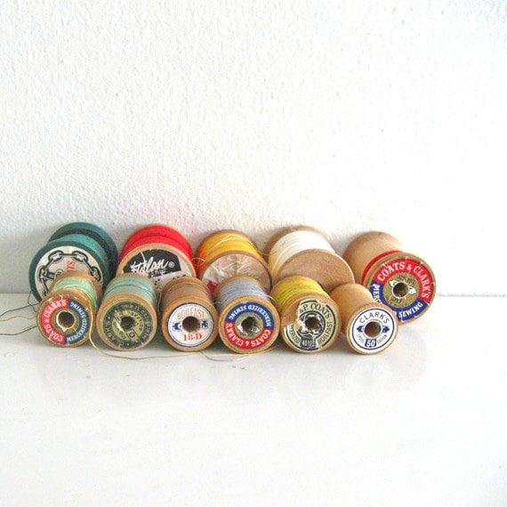11 Vintage Wooden Spools Thread Mixed Lot