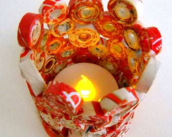 Candle Votive Flameless Red and White Paper Upcycled from Magazines etc. OOAK