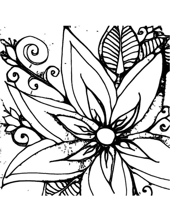 flower leaf coloring pages coloring page digital hand drawn papers by me printables flower