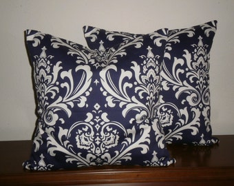 Free Domestic Shipping. Set of Two Decorative Pillow Covers - 18 inch Traditions White on Navy Blue Damask. Invisible Zipper