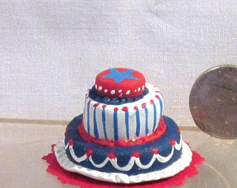 Red, white and blue 3 tiered cake