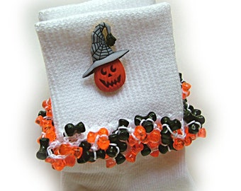 Kathy's Beaded Socks - Jack-in-the-Hat -  Spider socks, Halloween socks, jack o'lantern socks, Fall socks, holiday socks