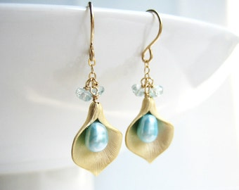Blue Bridal Earrings - gold lily flower bridesmaid earrings, bridal jewelry, nickel free - Calla Lily
