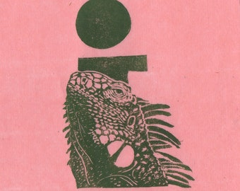 Iguana i Monogram Linocut - Lino Block Print Alphabet Typographic Print - I is for Iguana