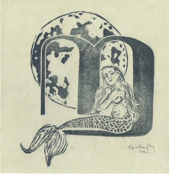 Mermaid Moon M Monogram Linocut - Alphabet Typographical Lino Block Print, Myth, Natural History, M is for Mermaid & Moon