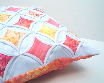 35% Off  Decorative Pillow Cover Batik Peach Yellow Pink Cathedral Window 18 Inches