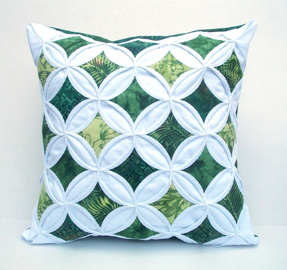 Green Throw Pillow Decorative Pillow Cover Cushion Cover Cathedral Window Batik 18 Inch