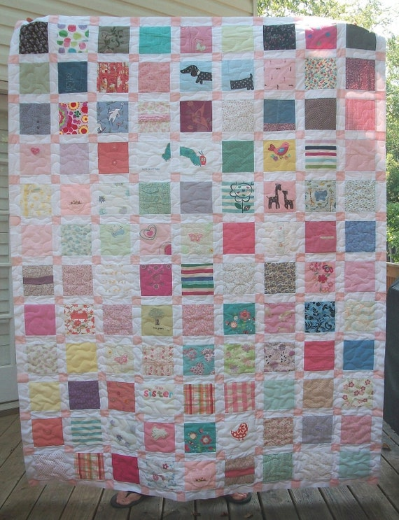 Reserved for Lisa - Twin Size Baby Clothes Memory Quilt