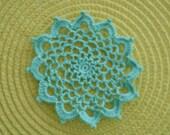 """New Handmade Crocheted """"83"""" Coaster/Doily in Aqua"""