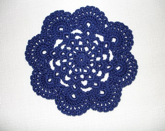 "New Handmade Crocheted ""Eight Shells"" Coaster/Doily in Navy Blue"
