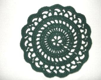 """New Handmade Crocheted """"Elegance"""" Coaster/Doily in Hunter"""
