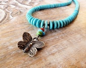 Southwest turquoise necklace butterfly charm necklace tribal jewelry silver necklace nature jewelry bohemian necklace