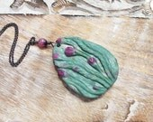 Flower Necklace Garden Necklace Carved Pendant Ruby Necklace Green Necklace Carved Flower Pendant Monet Inspired Sterling Silver Chain