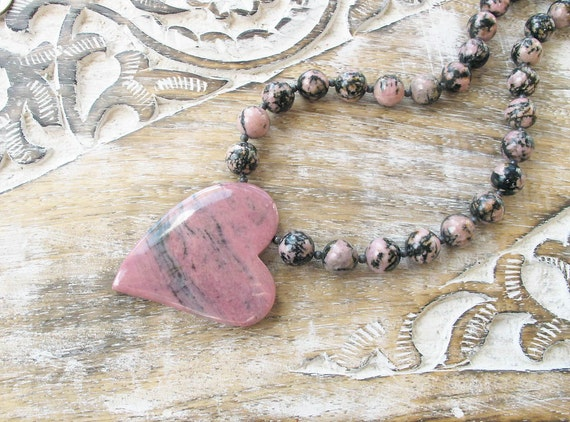 gemstone necklace carved heart pendant sterling silver necklace rhodonite necklace pink stone necklace boho necklace gift for bride CIJ