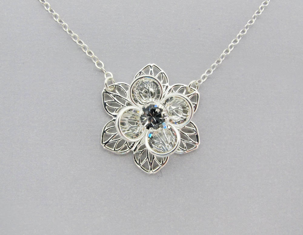 silver flower necklace swarovski necklace sterling