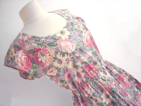 Vintage Floral Dress : 90s Prairie Grunge Cotton Dress with Pockets S - M